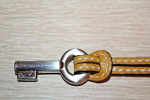 FOSSIL Silver Key Mustard Yellow Leather Replacement Purse Charm