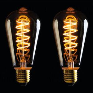 2x Vintage Filament LED Edison Screw Bulb E27 Decorative Industrial Light ST64