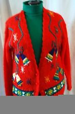 Casual Corner Woman's Christmas Sweater Mohair Red Bells Size Medium