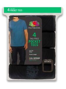 Fruit of the Loom Men's Short Sleeve BlackPocket T-Shirts, 4 Pack, 2XL