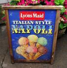 Old Vintage 1960s Lyons Maid Napoli Ice Cream Metal Advertising Sign Beach Hut B