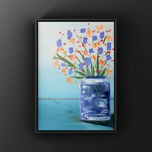 """Orginal floral/expressive painting Of """"Fresh Flowers"""" In A Vase/Bold With Energy"""
