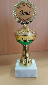 Geschenk Pokal ,Für die beste Oma ca. 22,5 cm Fun Award