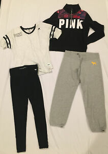PINK by Victoria's Secret LOT of 4 Items - Pullover, Tee, Leggings & Pants Sz S