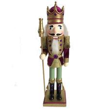 "Nutcracker Figure King Beautiful Maroon Velvet Jacket Sparkle Gold Details 15"""