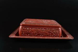 L1863: Japanese Resin Tsuishu Dragon sculpture CONTAINER Accessories Case Box