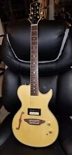 LUNA Electric Guitar semi Hollow body Flame Maple Top Onboard Acoustic Preamp