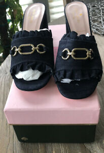Kate Spade New York Dark Denim Demmi Block Heels New 8.5 M Made In Italy