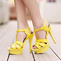 Womens High Heel Summer Patent Leather Platform Stiletto Shoes Party New Sandals