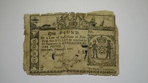 1771 £1 New York NY Colonial Currency Bank Note Bill One Pound! RARE Issue!