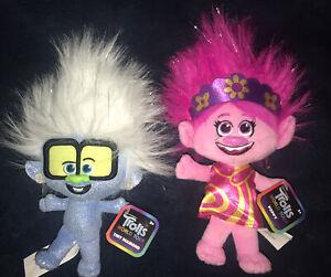 "Trolls World Tour Plush Toy Lot -  8"" POPPY & 8"" TINY DIAMOND WIth Glasses NWT!"