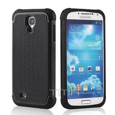 Samsung Galaxy S4 Rugged Rubber Impact Hybrid Shock Proof Case Cover - Black