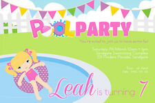 Girl's Birthday Invitations Pool Party -We Print or Print Yourself