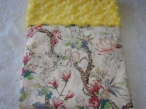 Flowers & Leaves Cotton Front Yellow Minkee Swirl Bassinet/Crib Blanket Handmade