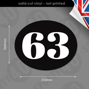 3x Oval Number 200x250mm Vinyl Decal Sticker Race Number Scooter Vespa 2102-0219