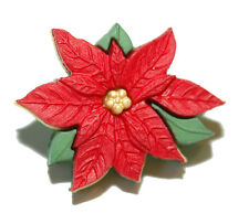 BRIGHT RED CHRISTMAS POINSETTIA TIE PIN TACK (097)