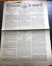 1854 MESSAGGERE DI MODENA  BOJANO CAMPOBASSO GARIBALDI SASSARI ROMA TORINO