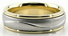 950 PLATINUM & 18K GOLD MENS WEDDING BAND RING 6.5MM