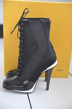 NIB Auth Fendi Victorian Calf Hair Polished Leather Lace-Up Boots 6.5 / 36.5