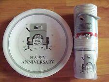 "Vintage Retro Happy Anniversary Still Married 25 9"" Plates 25 8oz Cups NOS"