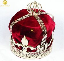 For Men Tiara Diadem Imperidal Medieval Red Velvet Crown Rhinestone Parade Party