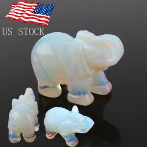 Natural Moonstone Quartz Carved Elephant Gemstone Stone Crystal Figurine 4x2.7cm