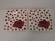 Italian Ceramics 2 Rose Snack Plate Valentine's Day Roses Square Dessert Salad
