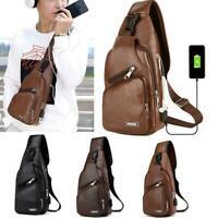 Mens Leather Crossbody Bag Single Shoulder Bag USB Sports Casual Chest Bag