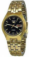 Seiko 5 SNKL66 Men's Gold Tone Stainless Steel Black Dial Automatic Watch