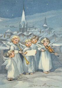 Postkarte: Erica v. Kager - Fünf musizierende Engel im Schnee