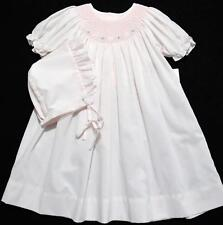 PETIT AMI 9M BISHOP SMOCKED FLORAL EMBROIDERED PINK BABY DRESS W/BONNET~NWT'S