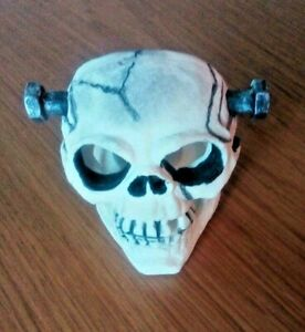Halloween Skull with bolts tealight candle holder. Gothic .Freestanding .