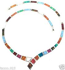 Color Iridescent Opal Necklace Mexico Taxco Mexican 950 Sterling Silver Multi