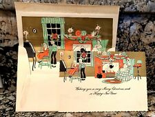 Vintage Greeting Card & Envelope Fireplace Family Christmas Art Deco 1920s New