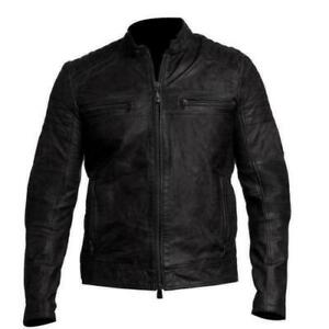 MENS VINTAGE RETRO CLASSIC BLACK GENUINE LEATHER JACKET SLIM FIT REAL BIKER