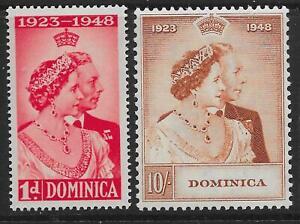 DOMINICA SG112/3 1948 ROYAL SILVER WEDDING MTD MINT