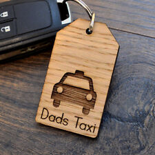 Dads Taxi - Fathers Day Wooden Keyring Gift for Dad Daddy Birthday Present Idea