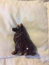 Vintage Japan Dark Brown Fine Porcelain Hand Painted Border Collie Dog Figurine