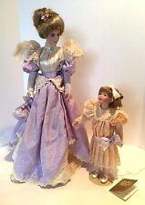 Franklin Heirloom Porcelain Dolls Gibson Girls Promenade Mother & Daughter W/Box