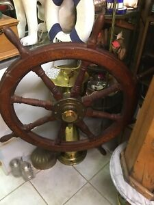 Super Rare! Antique Ships Wheel And Brass Base. 100% Authentic! 1900s Nautical.