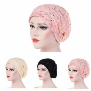 Beanie Hat Rhinestone Turban Cap Chemo Hat Muslim Hijab Beads Headwrap Headwear