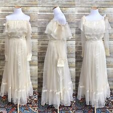 Vintage Boho Peasant Prairie Off The Shoulder Lace Ivory Sleeve Wedding Dress