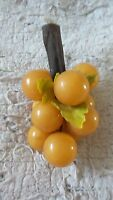 Vintage Gold Acrylic Non-Opaque Lucite Grape Bunch Drift Wood Stem