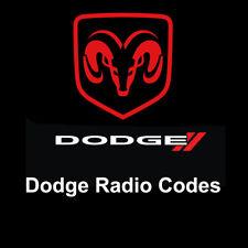Dodge Radio Code Anti Theft Stereo Unlock Codes Fast Service Ram/Sprinter