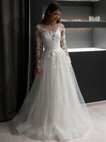 Modest Lace Wedding Dresses Long Sleeves Sheer Neck Appliques A-line Bridal Gown