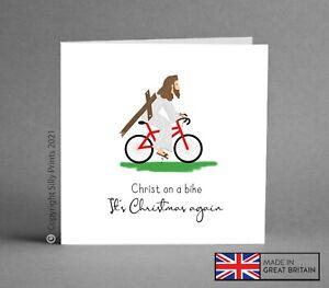 CHRISTMAS CARD - funny, cheeky jesus christ on a bike husband brother friend K56