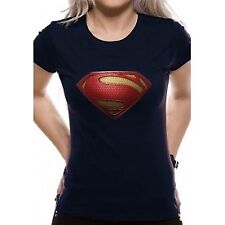 Superman Man of Steel - Textured Logo Girls Shirt Navy S