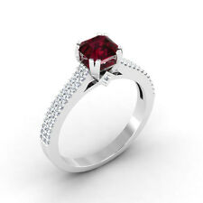 0.71 Ct Natural Cushion Ruby Engagement Ring 14K White Gold Diamond Rings Size M