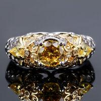 925 Silver Bee Butterfly Design Round Citrine Gem Wedding Engagement Ring!!