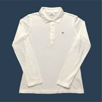Womens Lacoste Polo Shirt Medium/40 Long Sleeve White